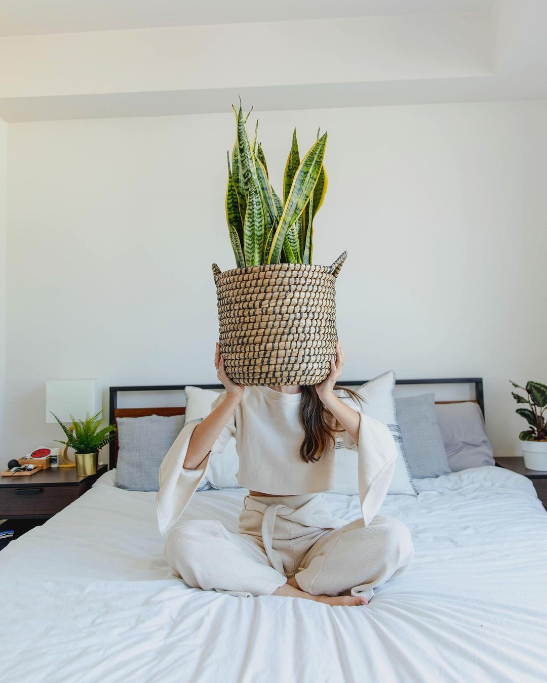 woman with snake plant sitting on bed